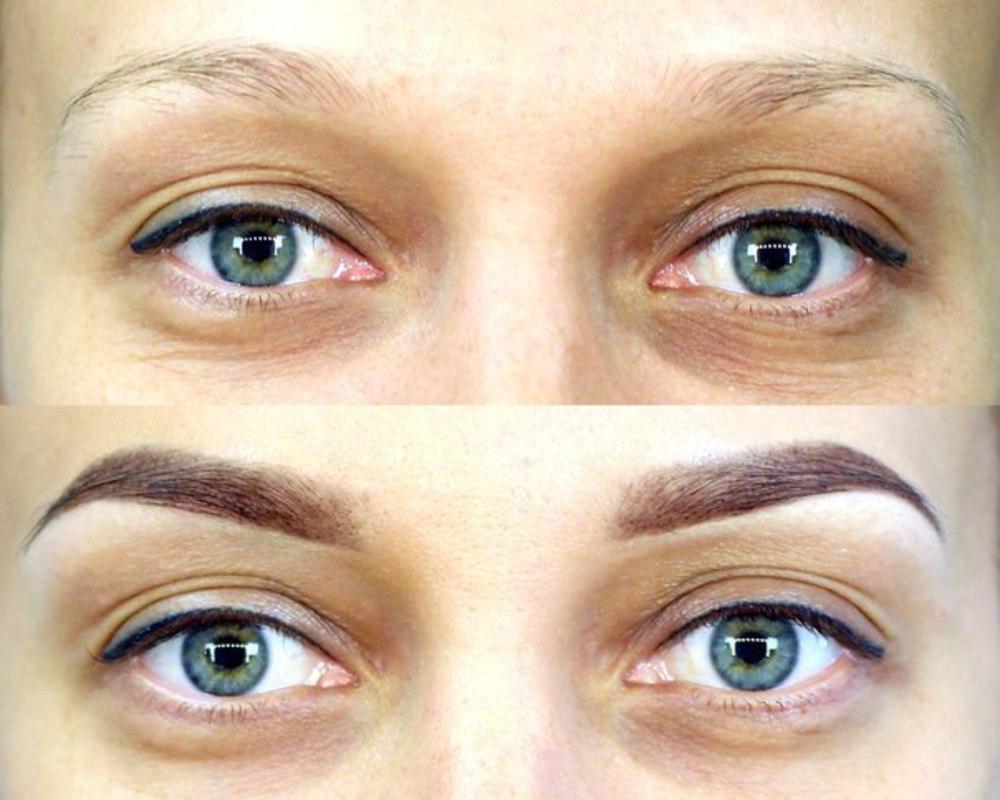 Краска просто наносится на верхний слой кожи и волоски, благодаря чему брови становятся более яркими и выразительными.