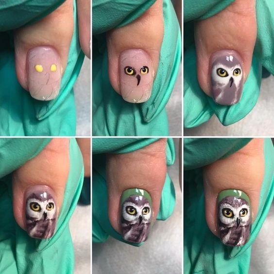 новогодняя сова рисунок на ногтях